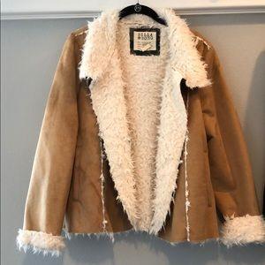 Brown suede shearling jacket.